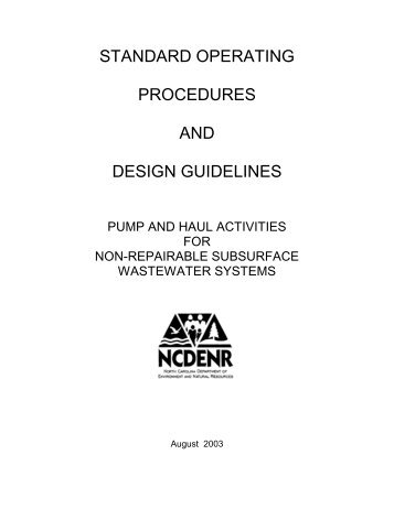STANDARD OPERATING PROCEDURES AND DESIGN GUIDELINES