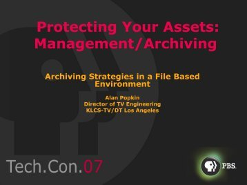 Archiving Strategies in a File Based Environment - PBS