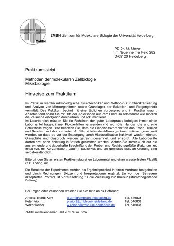 Skript Methoden der molekularen Zellbiologie: Mikrobiologie - ZMBH