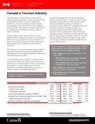 Tourism Industry Factsheet - Canadian Tourism Commission - Canada