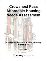 Crowsnest Pass Affordable Housing Needs Assessment