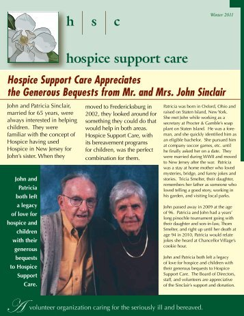 Winter 2011 Newsletter - Hospice Support Care, Inc.