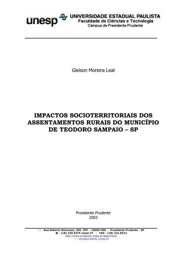 impactos socioterritoriais dos assentamentos rurais do ... - UNESP