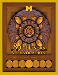 89th Annual Honors Convocation - University of Michigan