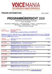 PROGRAMMÜBERSICHT 2009 - Voice Mania