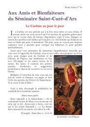 Aux Amis et Bienfaiteurs du Séminaire Saint-Curé ... - La Porte Latine