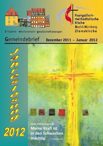 Gemeindebrief Dez-Jan 2012 - Zionsgemeinde