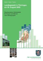 Landtagswahl 2009 in Thüringen - Repräsentative Wahlstatistik für ...