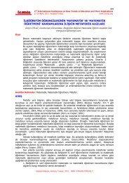 'matematik' ve - International Conference on New Trends in ...