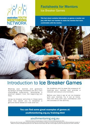 Ice breaker games - Australian Youth Mentoring Network
