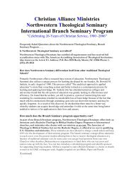 Christian Alliance Ministries Northwestern Theological Seminary ...