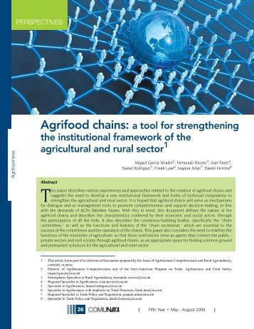 Agrifood chains: a tool for strengthening the institutional framework ...
