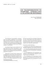Les transformations en géométrie, introduction à une approche ...