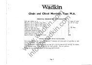 Wadkin MA Mortiser Manual and Parts List