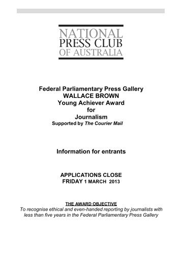 Information for entrants - National Press Club
