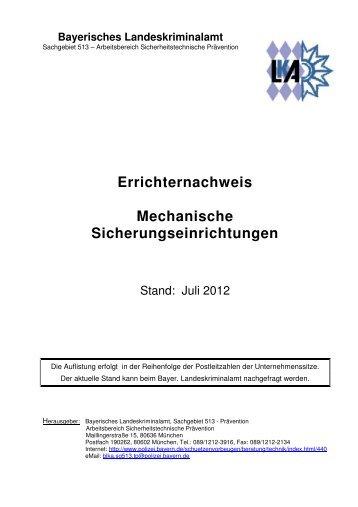 Errichternachweis Mechanische Sicherungseinrichtungen