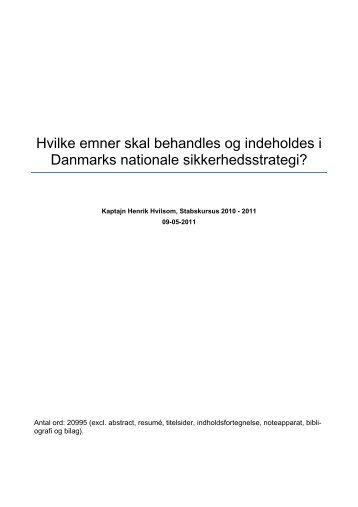 Hvilke emner skal behandles og indeholdes i Danmarks nationale ...