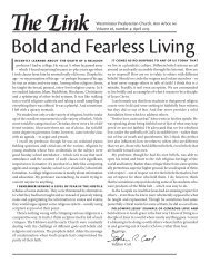 Bold and Fearless Living - Westminster Presbyterian Church