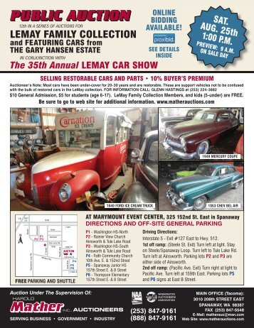 LEMAY FAMILY COLLECTION - Mather Auctioneers Inc