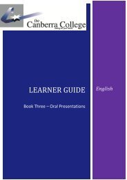 English Oral Presentation Booklet - The Canberra College