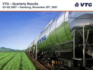 Q1 – Q3 2007 at a glance - Investor Relations - Vtg.com