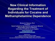 New Clinical Information for Treatment of Cocaine and Meth - UCLA ...