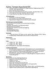Fachfrau / Fachmann Hauswirtschaft EFZ