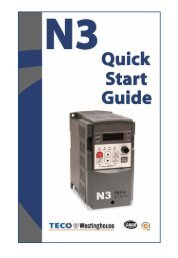 Quick Start Manual (PDF) - TECO-Westinghouse Motors (Canada) Inc.