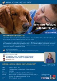 Veterinary Assistant MINI CONFERENCE Sunday 13 June 2010