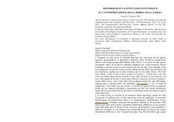 Discorso Di Giovanni Paolo II sulla interpretazione della Bibbia nella ...