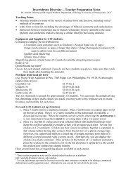 Invertebrate Diversity -- Teacher Preparation Notes - Serendip
