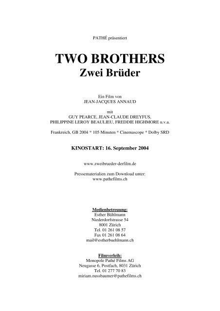 TWO BROTHERS Zwei Brüder - Pathé Films AG Zürich