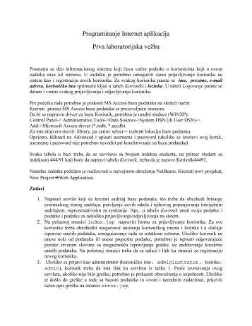 Programiranje Internet aplikacija Prva laboratorijska vežba