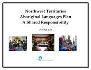 Northwest Territories Aboriginal Languages Plan A Shared ...