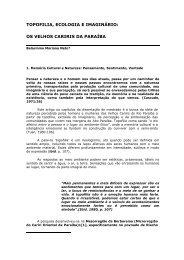 TOPOFILIA, ECOLOGIA E IMAGINÁRIO: OS VELHOS CARIRIS DA ...