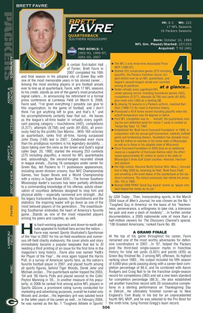 at a glance… BRETT FAVRE - Packers