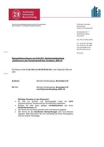 Raumaufteilung Klausur am 23.03.2011, Bachelorstudiengänge ...