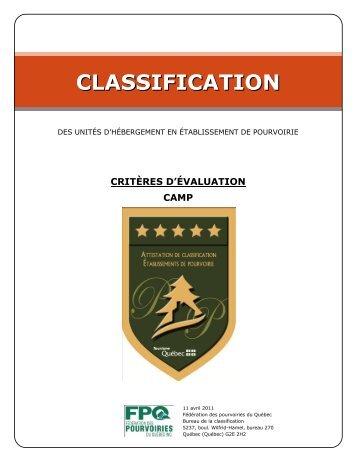 Critères d'évaluation pour camps - Tourisme Québec