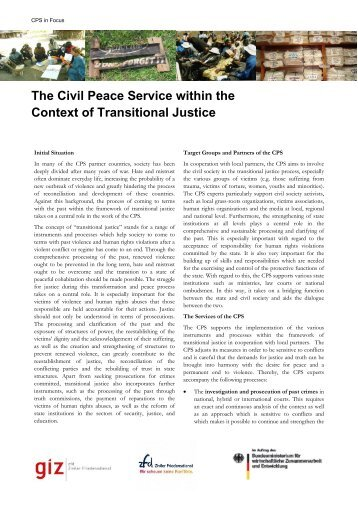 The Civil Peace Service within the Context of Transitional Justice
