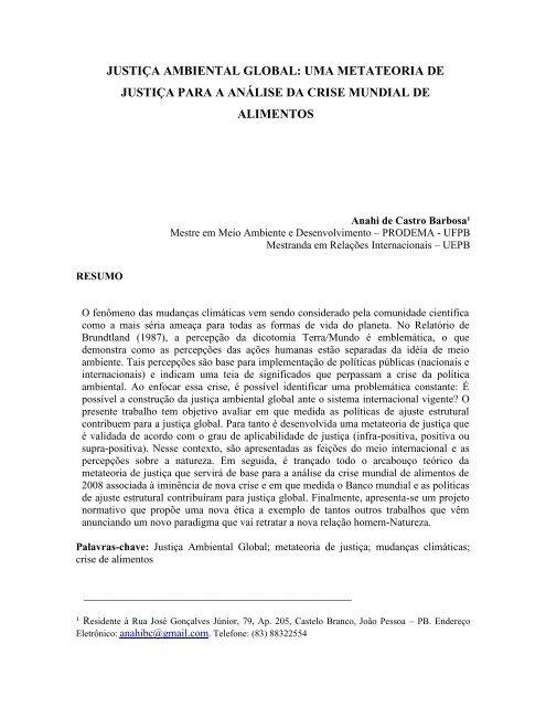 justiça ambiental global - SciELO Proceedings