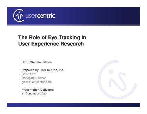The Role of Eye Tracking in User Experience Research