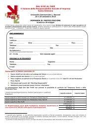 Domanda di partecipazione - Impronta Etica