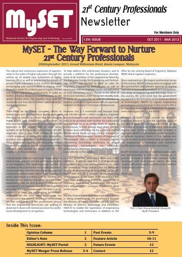 Issue 12 : October 2011 - March 2012 - malaysian society for ...