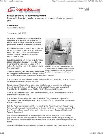 Fraser sockeye fishery threatened - Watershed Watch Salmon Society