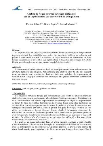 Analyse de risque pour les ouvrages portuaires - Paralia.fr