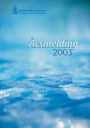 Årsmelding for 2003 - Sjøfartsdirektoratet