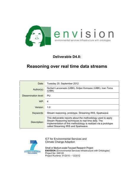 Reasoning over real time data streams - ENVISION ...