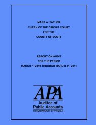 Clerk of the Circuit Court for the County of Scott Report on Audit for ...