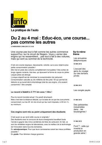 Du 2 au 4 mai : Educ-éco, une course... pas comme les ... - EducEco
