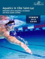 Aquatics Guide Summer 2012 - City of Côte Saint-Luc